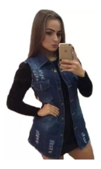 Colete Jeans Comprido Longo Gola Destroyed Rasgos Rasgado