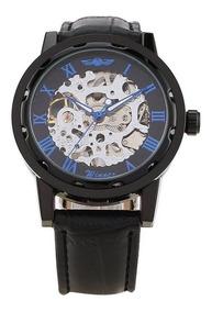 Relógio Esqueleto Transparente Barato Masculino Winner Azul