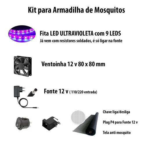 2x Kit Armadilha De Mosquito Led Ultravioleta Fácil Montar