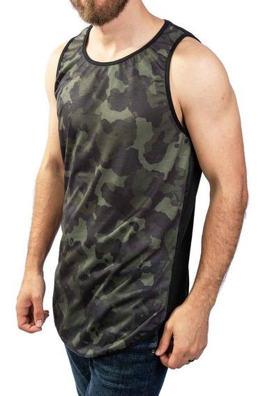 Regata Estampa Camuflada Longline, Estilo Swag Streetwear