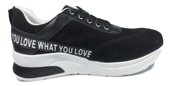 Tênis Feminino Sneaker Couro Nobuck Preto Solado Alto