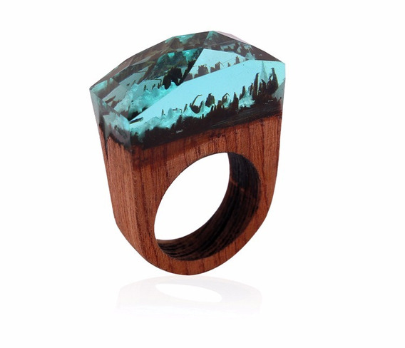 Hermoso Anillo Secret Wood Bosque Secreto Resina Madera 2x1