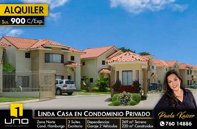 Linda Y Amplia Casa En Alquiler En Condominio