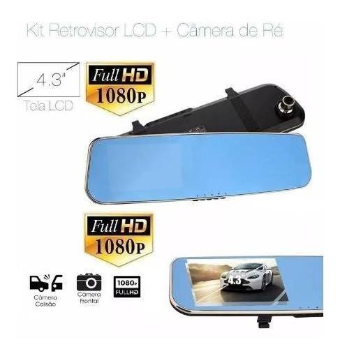Espelho Retrovisor + Camera De Ré Filmadora Frontal Lcd Kit