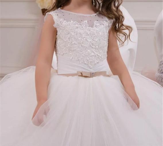 Vestido De Daminha, 8 Anos, Sinto Na Cor Branco