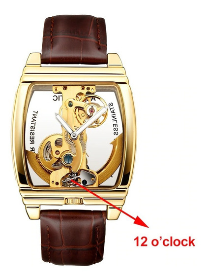 Relógio Kroni Automatico 100% Aparente, Caixa Cromada A Ouro