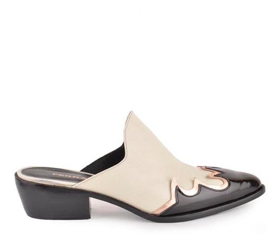 Zapatos De Mujer Tipo Texano De Cuero Litio - Ferraro -