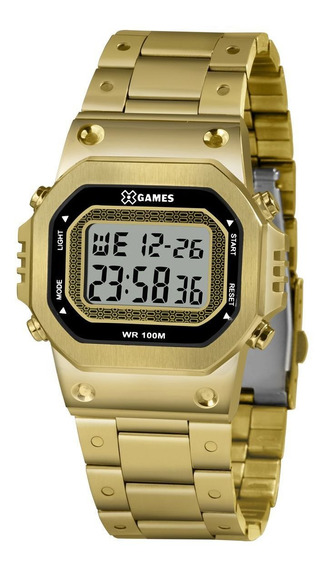 Relógio Masculino Dourado Digital Quadrado X-games Aço Inox