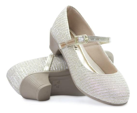 Sapato Infantil Saltinho Feminina Dourada Festa Moda Barato