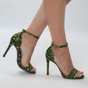 Sandália Cobra Preto Verde De Salto Fino Alto - New Elegance