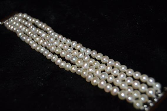 Brazalete De Perlas Cultivadas Y Broche Plata