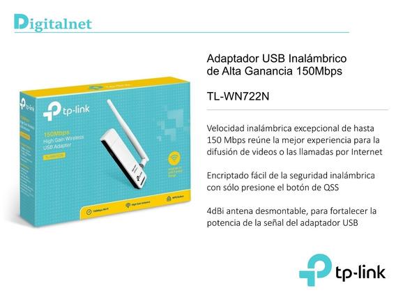 Placa De Red Wifi Tp-link Tl-wn722n Adaptador Usb 722n 150mb