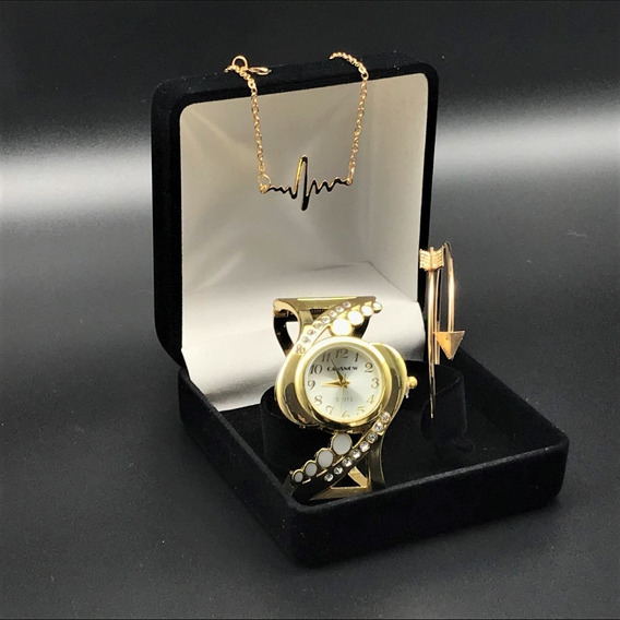 Relógio Feminino Dourado, Colar, Pulseira Presente Criativo