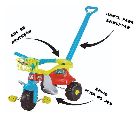 Triciclo Bebê Motoca Festa Azul Empurrador Magic Toys 2560