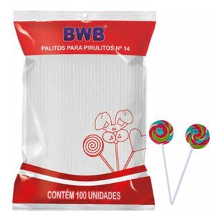 Palito Para Pirulito 14cm Plástico Branco Bwb - 100 Unidades