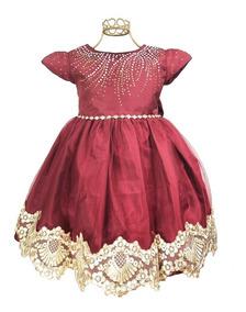 Vestido Infantil Luxo Marsala Princesa Noivinha Dourado