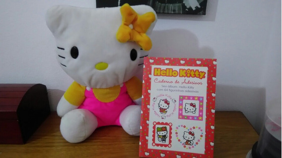 Hello Kitty Pelúcia 33 Cm + Caderno De Adesivos