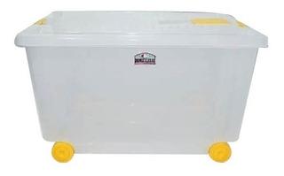 Pack X 3 Caja De Plastico Organizadora Con Ruedas X 52 Lts