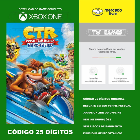Crash Ctr Nitro Fueled Codigo 25 Digitos Xbox One Fat S X