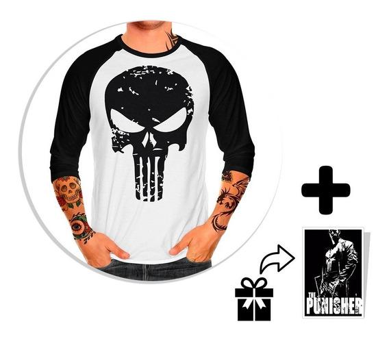 Envio Gratis Playera Raglan Caballero Punisher + Sticker