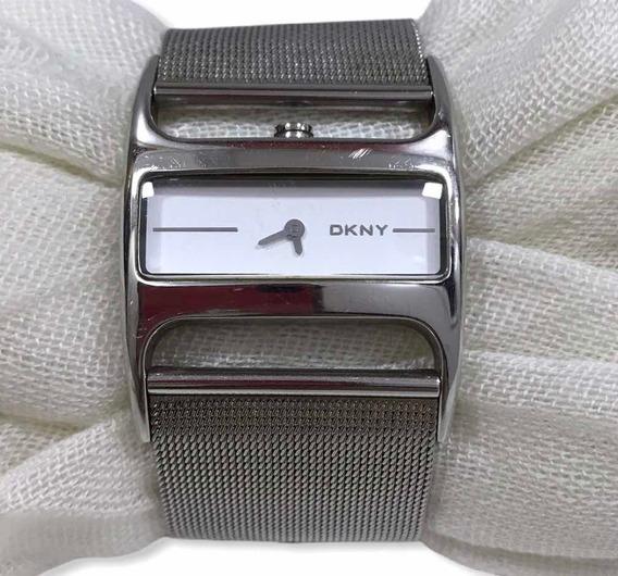 Relógio Dkny Feminino Quadrado Prateado Prata Usado Original