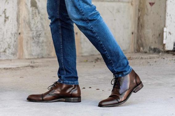 Zapato Tipo Botita De Color Marron 100%cuero