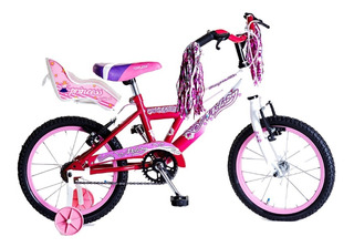 Bicicleta Rodado 16 Nena, Con Silla Flecos Y Rueditas Armada