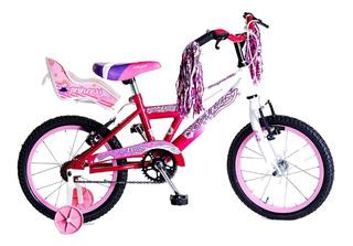 Bicicleta Nena Rodado 16 Paseo Con Rueditas, Sillitas Y Flec