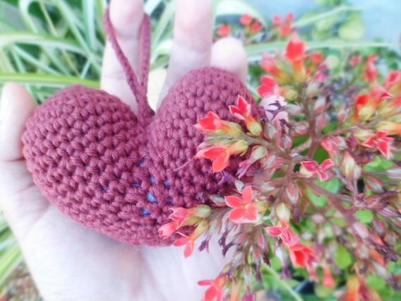 Llavero Corazón Grande Tejido A Crochet, Amigurumi. Xl