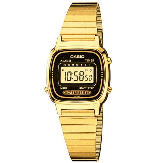 Relógio Casio Vintage Digital La670wga-1df Dourado Preto