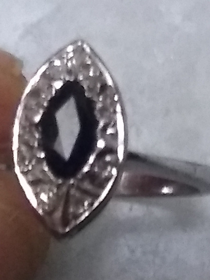 Anillo Diamantes Y Zafiro Marquis Plata Paladio Envio Gratis