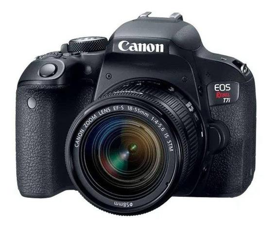 Câmera Canon T7i Dslr C/ Lente: 18-55 Mm + Bateria Gripe