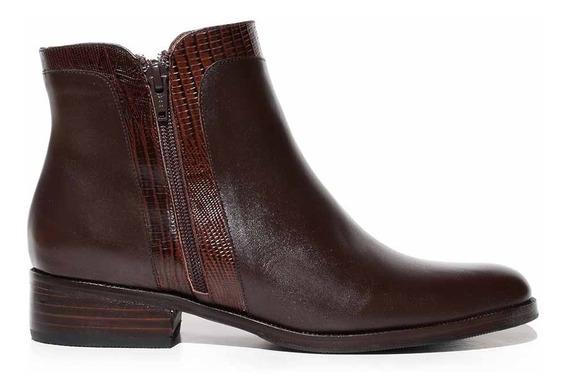 Botineta Bota Cuero Mujer Briganti Zapato Bajo - Mcbo24840