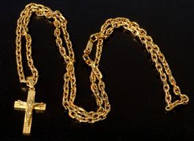 Corrente Cordão 70cm 4mm Banhada A Ouro + Pingente Cruz