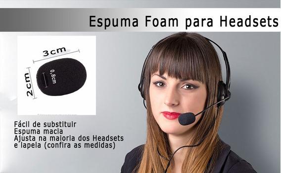 5x Espuma Microfone Headset Telemarketing Lapela Carta 13,