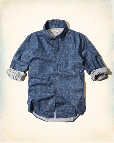 Camisa Social Hollister Em Azul Marinho E Estampa Geométrica