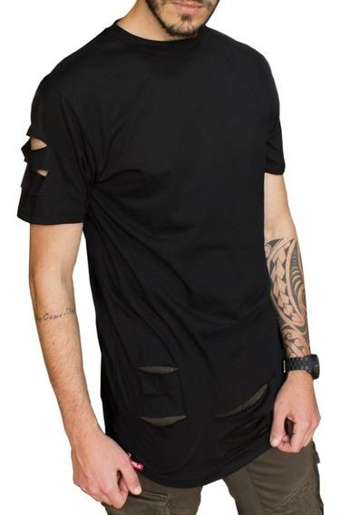 Kit 3 Camiseta Longline Rasgada Destroyed Swag C86