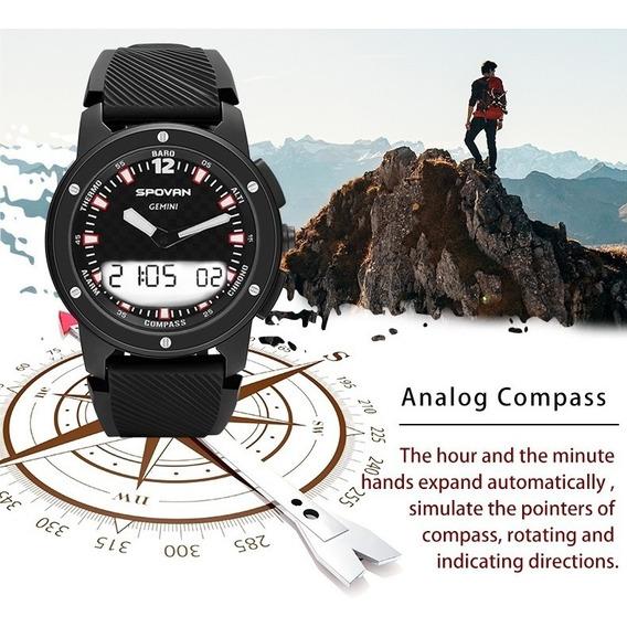 Relógio Masculino Gemini, Bússola, Altímetro, Barômetro, Cronômetro, Termômetro, À Prova D