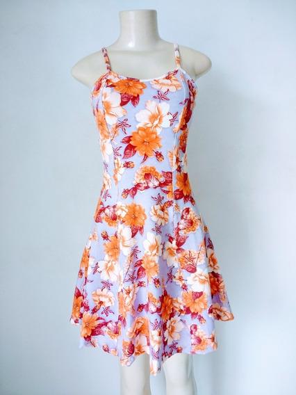 Vestido Floral Com Alça E Bojo Godê
