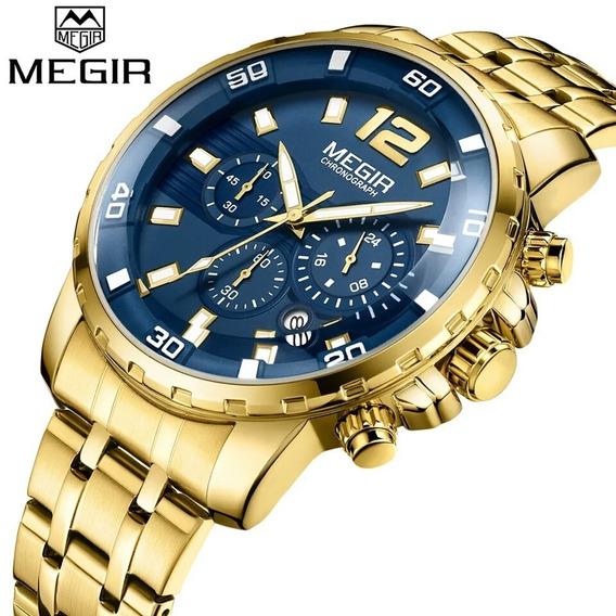 Relógio Masculino Original Megir Dourado Azul A Prova D Água