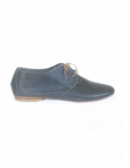 Zapato Chato Cuero Mujer Acordonado Chatita Balerina Mocasin