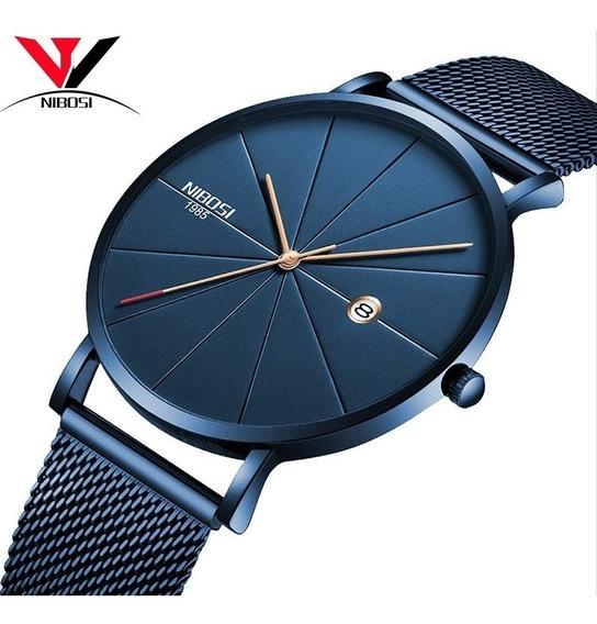 Relógio Nibosi Slim, Ultrafino, Quatzor