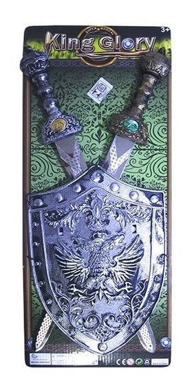 Kit Medieval Com 2 Espadas E Escudo King Glory