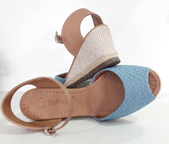 Sandália Feminina Salto Anabela Azul Jeans Bebecê