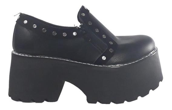 Zapato Mujer Abotinados Con Plataforma Y Tachas