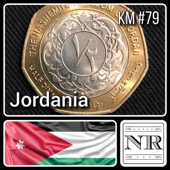 Jordania - 1/2 Dinar - Año 2000 (1421) - Km # 79 - Bimetalica
