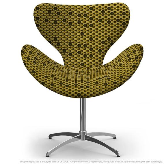 Cadeira Egg Colmeia Preto E Amarelo Com Base Giratória