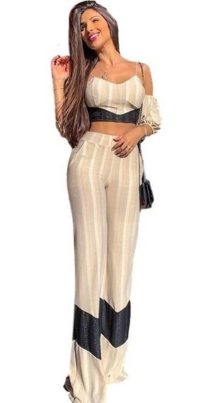Macaquinho Macacão Conjunto Cropped E Calça Pantalona Feminino