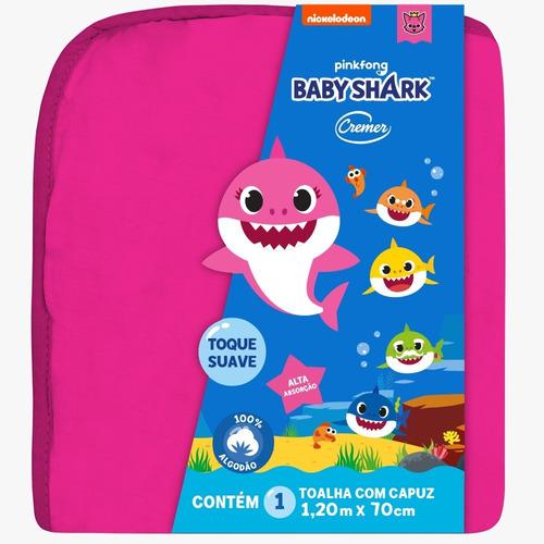 Imagem 1 de 2 de Toalha Com Capuz Rosa  Baby Shark