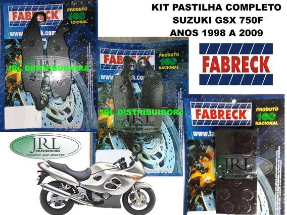 Kit Pastilha De Freio Suxuki Gsx-750f Anos 1998-2009 Fabreck